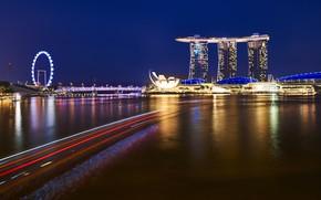 Картинка Ночь, Город, Сингапу́р, Ночной Пейзаж