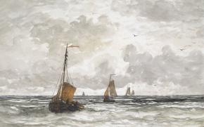 Обои Рыбацкие Лодки в Море, парус, акварель, рисунок, море, Хендрик Виллем Месдах, лодка, корабль