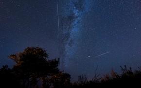 Картинка космос, звезды, падение, млечный путь, персеиды