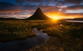 Обои Исландия, свет, вечер, солнце, гора