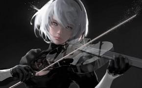 Картинка девушка, скрипка, Silence, nier, Wlop, NieR: Automata, nier automata