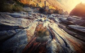 Картинка природа, река, камни