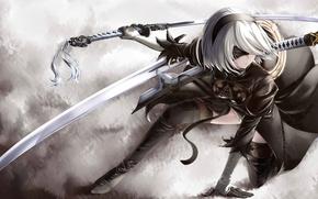 Обои kawaii, Microsoft, girl, sword, game, robot, dress, woman, Square Enix, beautiful, katana, ken, face, blade, ...