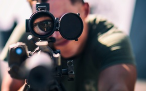 Обои Sniper, Eyeballs Click, M-110 Semi-Automatic Sniper System rifle
