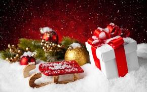 Картинка Новый Год, Рождество, snow, merry christmas, gift, decoration, fir tree