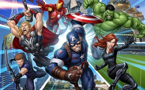 Обои Тор, Мстители: Война бесконечности, Капитан Америка, Мстители, Халк, Железный Человек, арт, Avengers: Infinity War, Черная ...