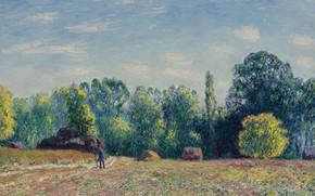 Картинка поле, пейзаж, картина, Alfred Sisley, Альфред Сислей, Край Леса