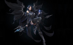 Картинка взгляд, девушка, магия, крылья, арт, костюм, броня, черный фон, фэнтЕзи