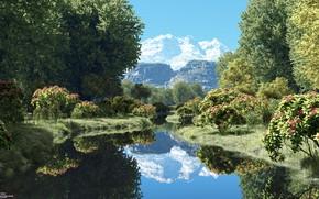 Картинка лес, горы, река, by the stream