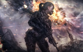 Картинка девушка, оружие, война, маска