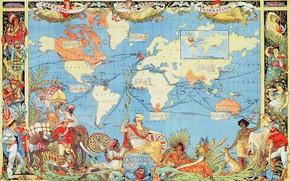 Обои карта мира, 1886, раритет