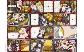 Картинка коробка, рис, школьницы, обед, матроска, закуски, ben-to, Hana Oshiroi, Ayame Shaga, Ume Shiraume, Chapatsu, Uzu …