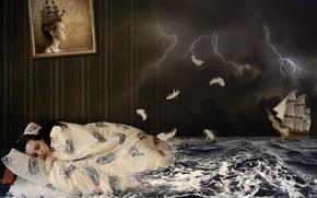 Обои парусник, креатив, тучи, картина, сон, одеяло, спит, девушка, ночь, брюнетка, волны, гроза, море, кровать, подушка, ...