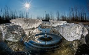 Обои капли, лёд, всплеск, зима, вода, макро, солнце
