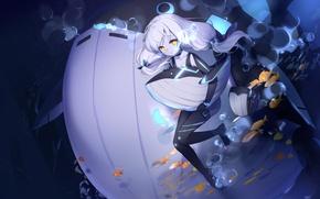 Картинка девушка, рыбки, пузыри, аниме, кит, под водой, kyuri, zhanjian shaonu, lost abyssal transport ship