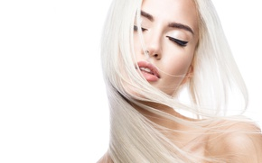 Картинка Blonde, look, pose, head, make up, hairstyle, close eyes