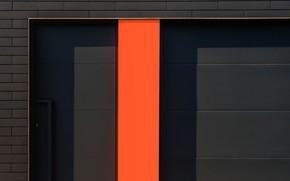 Обои город, здание, чёрный, дом, оранжевый