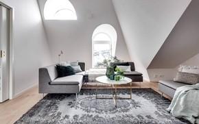 Картинка комната, интерьер, гостиная, скандинавский стиль, Apartment in Stockholm