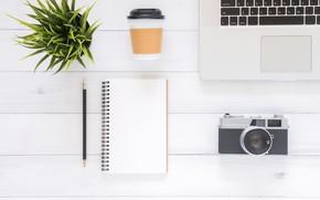 Обои Цветок, Кофе, Фотоаппарат, Ноутбук, Блокнот, Ручка, Гаджеты