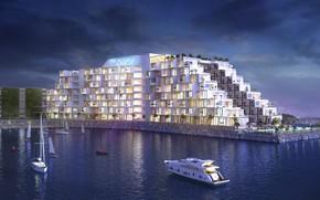 Картинка берег, сооружение, яхты, водоём, The Cruise