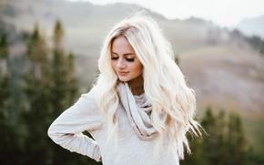 Картинка девушка, лицо, фон, волосы, блондинка, милашка
