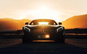 Картинка закат, Mercedes-Benz, вид спереди, AMG, GT C
