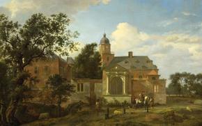 Картинка пейзаж, картина, Ян ван дер Хейден, Вид Замка Ниенроде на Реке Вехт