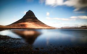Картинка природа, Исландия, озеро, Kirkjufell, гора