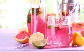 Картинка лимон, лайм, напиток, грейпфрут, лимонад