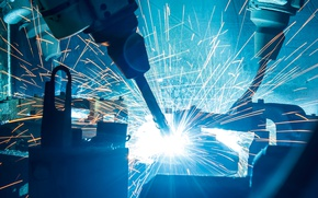 Обои industrial, sparks, robotic welders, Machinery