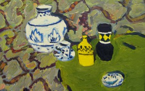 Картинка 2008, тарелка, натюрморт, отеннки зелёного, Петяев