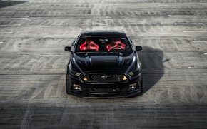 Картинка Mustang, Ford, Front, Black, Face, Sight