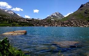 Картинка горы, озеро, горное озеро, вершины гор