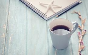 Картинка кофе, блокнот, морская звезда