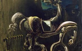 Обои картина, Сальвадор Дали, Salvador Dali, сюрреализм, Автомобильные Обломки Рождают Слепую Лошадь
