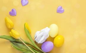 Картинка цветы, Happy, spring, flowers, eggs, яйца крашеные, tulips, тюльпаны, Пасха, Easter, wood, decoration, весна