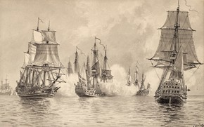 "Картинка чёрно - белое, морское сражение, Jacob Hägg, ""Konvojskeppet Ölands strid med engelska eskadern, морской вид"
