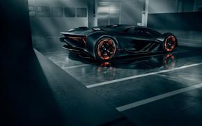 Картинка Lamborghini, Light, Wheels, Hypercar, Rear, Terzo Millennio