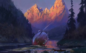 Картинка fantasy, forest, river, trees, landscape, nature, sunset, mountains, man, digital art, artwork, boat, crash, fantasy ...