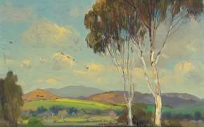 Картинка деревья, пейзаж, природа, картина, Alfred Richard Mitchell, Яркое утро