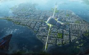 Картинка город, остров, пирамида, Dragons conquer America, Tenochtitlan city
