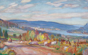 Картинка пейзаж, картина, Frederick Challener, Река Оттава в Мэттаве. Онтарио