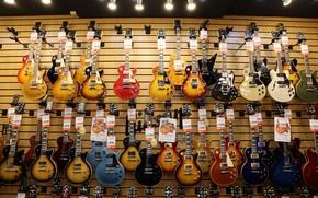 Обои музыка, магазин, гитары