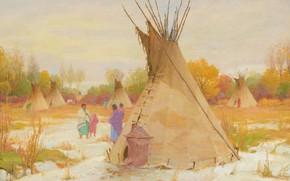 Картинка Joseph Henry Sharp, Squaw Winter, Crow Agency Montana Near Custer Battlefield