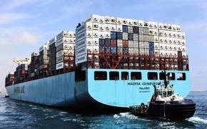 Картинка Судно, Line, Контейнеровоз, Maersk, Maersk Line, Буксир, Корма, Maersk Edinburgh
