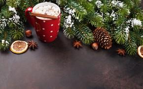 Картинка украшения, елка, Новый Год, Рождество, чашка, Christmas, cup, chocolate, Merry Christmas, Xmas, какао, cocoa, decoration, …