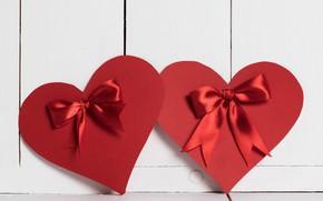 Картинка красное, сердце, бант, Valentine's Day
