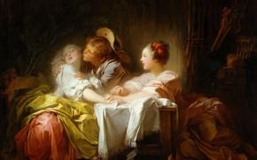 Картинка картина, жанровая, Jean-Honore Fragonard, Выигранный Поцелуй, Жан Оноре Фрагонар