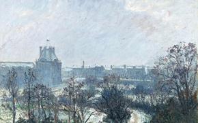 Картинка картина, городской пейзаж, Камиль Писсарро, Парк Лувра и Павильон Флоры в Снегу