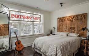 Обои спальня, окно, кровать, гитара
